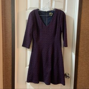 Taylor Purple/Navy 3/4 Sleeve Fit & Flare Dress 6